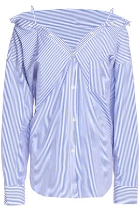 THEORY Off-the-shoulder striped cotton-poplin shirt