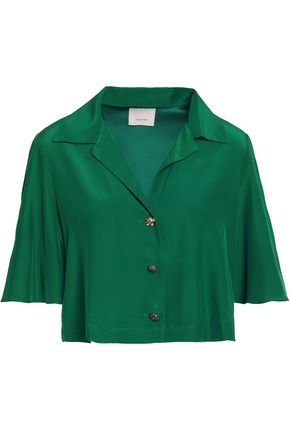 CINQ À SEPT Cropped silk-satin shirt