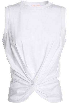 CINQ À SEPT Twist-front cotton-jersey T-shirt
