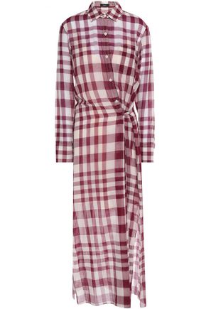 THEORY Checked cotton-gauze shirt dress