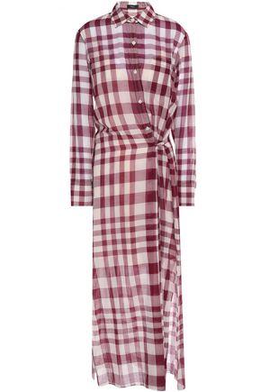 THEORY Checked cotton-gauze shirt dress