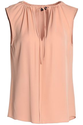 THEORY Gathered silk-crepe top