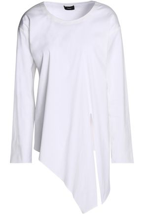 THEORY Asymmetric cotton-blend poplin top