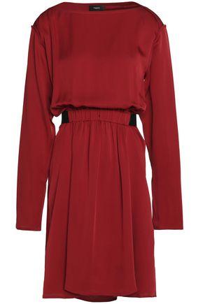THEORY Pleated silk-satin dress