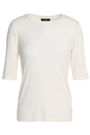 THEORY Ribbed Supima cotton and modal-blend top