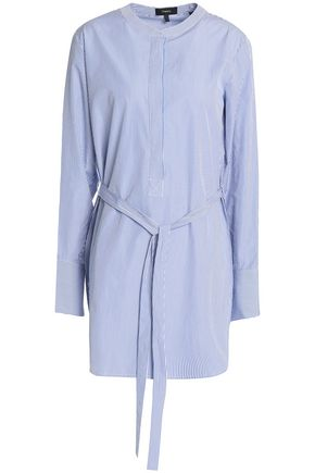 THEORY Tie-front striped cotton-poplin tunic