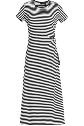 THEORY Asymmetric striped stretch-knit jersey dress