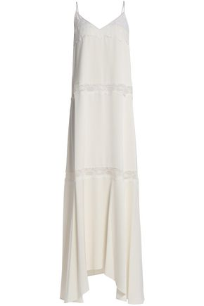 THEORY Lace-trimmed draped crepe maxi dress