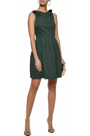 RAOUL Wrap-effect bow-detailed pleated cotton-poplin dress