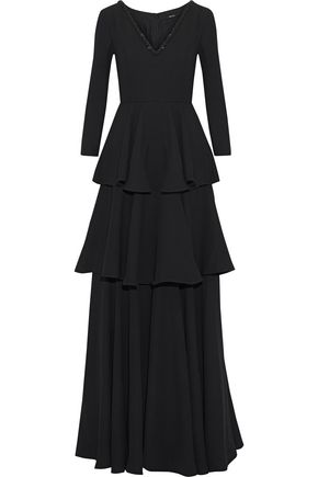 RAOUL Bead-embellished tiered ruffled crepe gown
