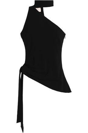 CINQ À SEPT Leah one-shoulder asymmetric crepe top