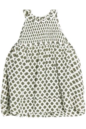 CINQ À SEPT Cropped shirred printed silk top