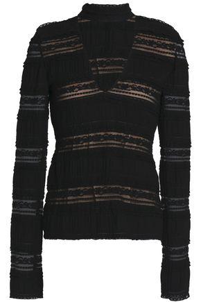 CINQ À SEPT Crochet-paneled stretch-cotton top