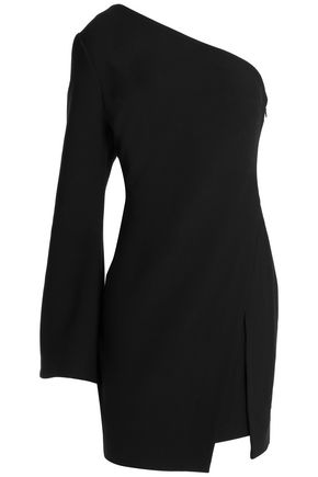 CINQ À SEPT One-shoulder wrap-effect crepe de chine mini dress