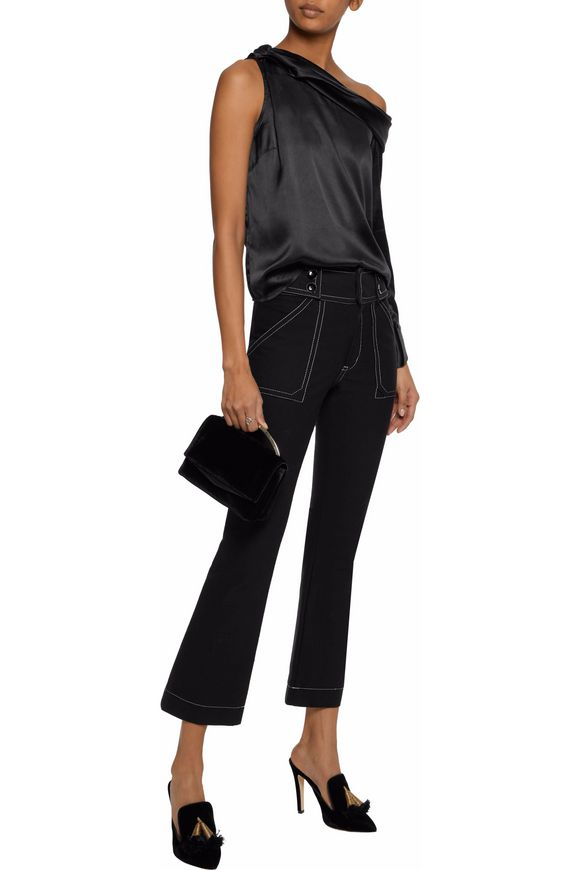 One-shoulder draped satin top | W118 by WALTER BAKER | Sale up to 70% off |  THE OUTNET