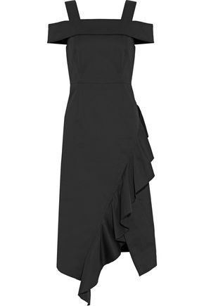 ROBERT RODRIGUEZ Cold-shoulder ruffled cotton-twill dress
