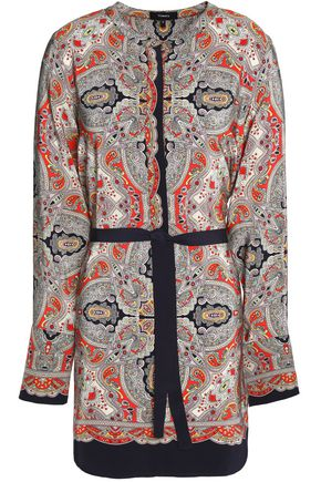 THEORY Tie-front printed crepe tunic