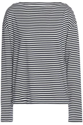 THEORY Striped stretch-cotton jersey top