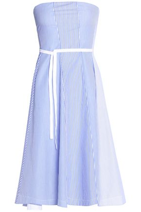 THEORY Strapless pleated striped cotton-poplin dress
