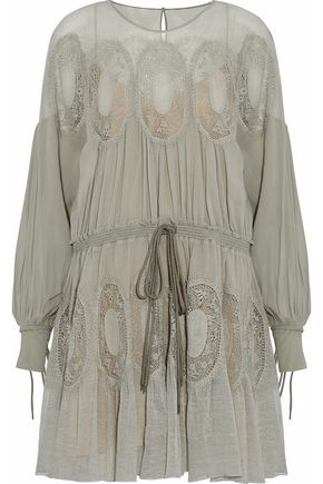 CHLOÉ Chantilly lace and tulle-paneled cotton-gauze mini dress