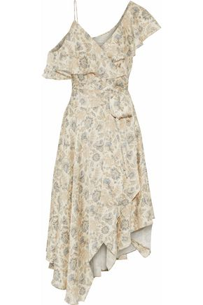 ZIMMERMANN Asymmetric ruffled floral-print silk wrap midi dress