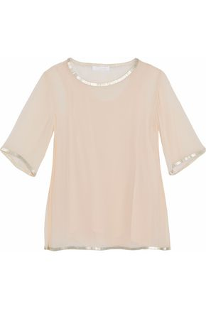 CHLOÉ Bead-embellished silk-georgette blouse