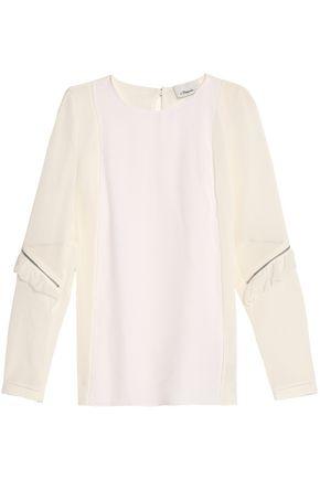 3.1 PHILLIP LIM Voile-paneled crepe blouse