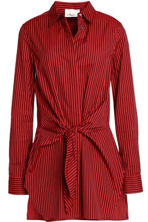 3.1 PHILLIP LIM Tie-front striped cotton-poplin shirt