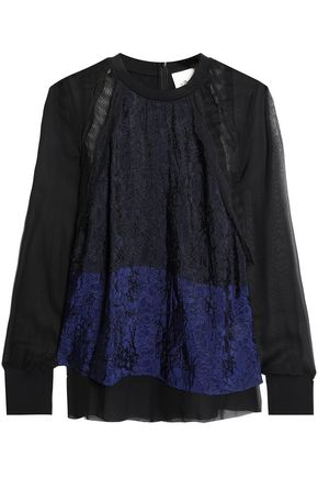 3.1 PHILLIP LIM Paneled lace blouse