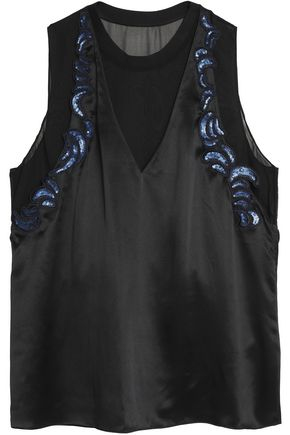 3.1 PHILLIP LIM Sequin-embellished silk-satin top