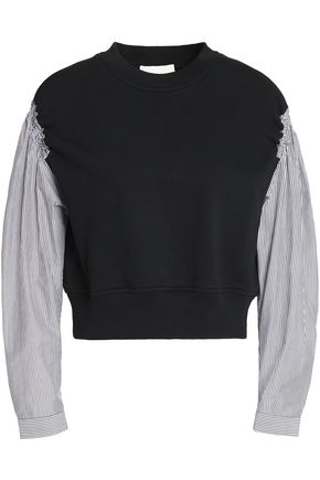 3.1 PHILLIP LIM Striped poplin-paneled cotton-terry top