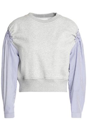 3.1 PHILLIP LIM Striped poplin-paneled cotton-terry top