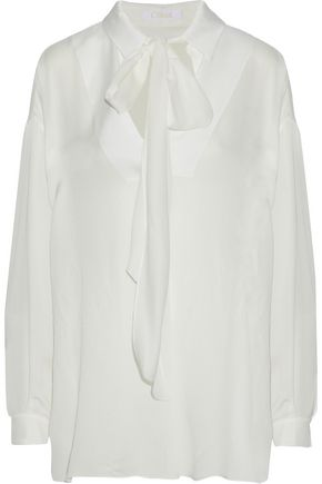 CHLOÉ Pussy-bow hammered crepe de chine blouse