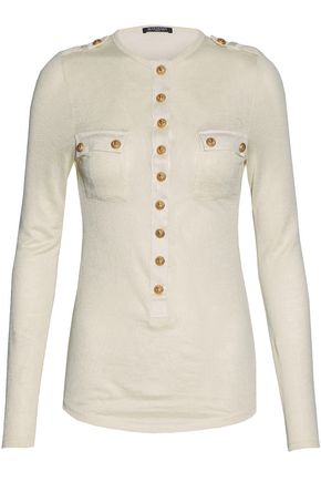 BALMAIN Button-detailed slub linen-blend jersey top
