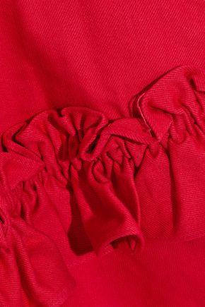 J BRAND Tiered ruffled cotton-twill mini dress