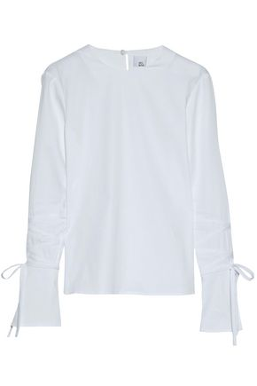 IRIS & INK Brett bow-detailed cotton-blend poplin top