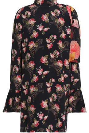 MOTHER OF PEARL Cold-shoulder floral-print silk-georgette mini dress