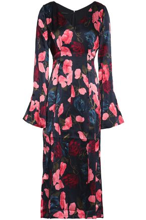 MOTHER OF PEARL Floral-print silk-satin midi dress