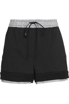 3.1 PHILLIP LIM Poplin-trimmed cotton-terry shorts