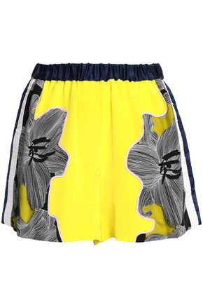 3.1 PHILLIP LIM Floral-print tulle-paneled silk-crepe shorts