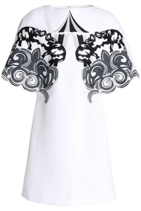 VICTORIA, VICTORIA BECKHAM Embroidered piqué-cotton mini dress