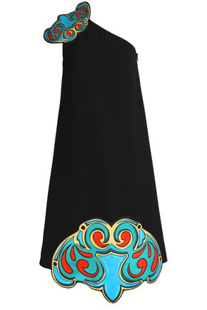 VICTORIA, VICTORIA BECKHAM One-shoulder printed crepe midi dress