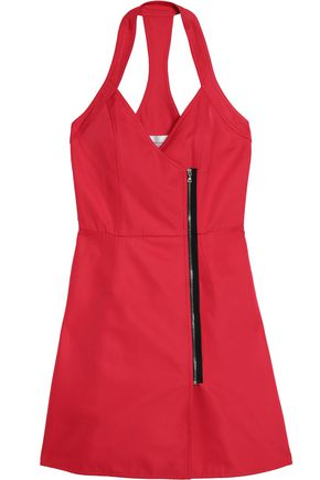 VICTORIA, VICTORIA BECKHAM Open-back zip-trimmed  twill mini dress