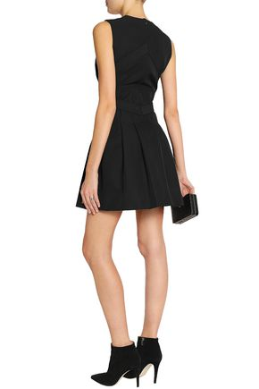 VICTORIA, VICTORIA BECKHAM Pleated embellished twill mini dress