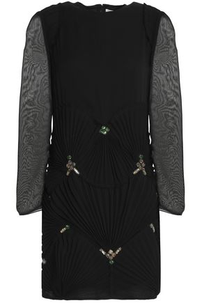 VICTORIA, VICTORIA BECKHAM Pleated embellished silk mini dress