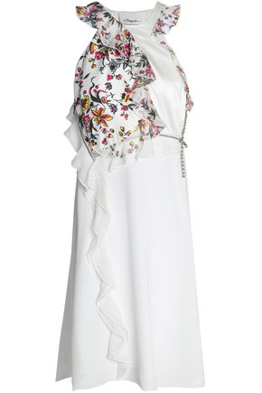3.1 PHILLIP LIM Embellished floral-print paneled silk-twill dress