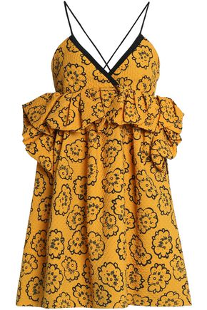 VICTORIA, VICTORIA BECKHAM Ruffle-trimmed printed cloqué mini dress