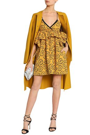 VICTORIA, VICTORIA BECKHAM Ruffle-trimmed printed cloqué mini dress