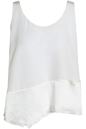 3.1 PHILLIP LIM Asymmetric paneled silk-satin and crepe top