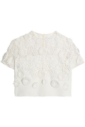 VICTORIA, VICTORIA BECKHAM Cropped appliquéd guipure lace top